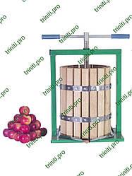 Ручной пресс для фруктов и овощей Вилен 20 литров винтовой с дубовой корзиной