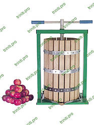 Ручной пресс для фруктов и овощей Вилен 25 литров винтовой с дубовой корзиной