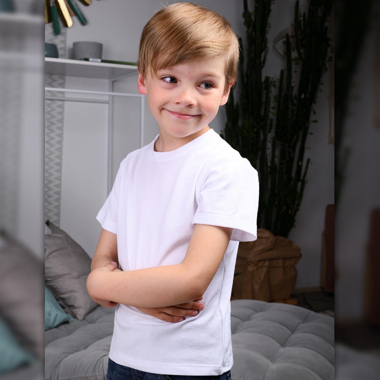 Детская футболка Белая из полотна-лакоста для мальчиков и девочек | Дитяча футболка Біла