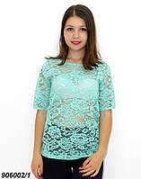 Жіноча блузка з однотонного гіпюру, м'ятна 44,46.48,50, фото 1