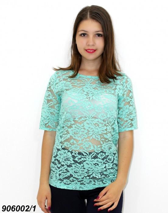 Жіноча блузка з однотонного гіпюру, м'ятна 44,46.48,50
