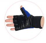 Перчатки беспалые для спорта универсальные PROFI. Кожаные перчатки для спорта (зала,турника,тяжелоатлетов)., фото 3