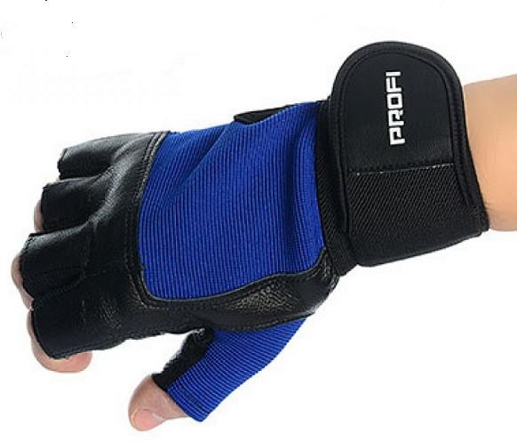 Перчатки беспалые для спорта универсальные PROFI. Кожаные перчатки для спорта (зала,турника,тяжелоатлетов).