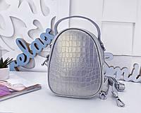 Женская сумка-клатч цвета серебро, натуральная кожа