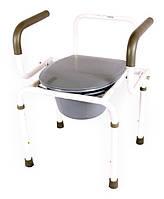 Стальной стул-туалет на колёсах с откидными подлокотниками OSD-2107D, фото 1
