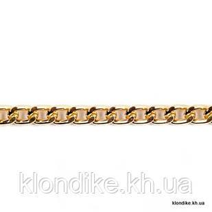 Цепь алюминиевая, 10х6 мм, Цвет: Золото (1 метр)