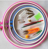 Пяльцы пластковые для вышивки,  набор из 3 диаметров