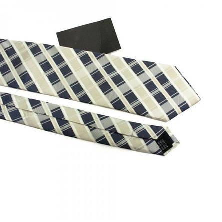 Краватка Чоловічий Бежево-Синій В Квадратики Gin-2495, фото 2