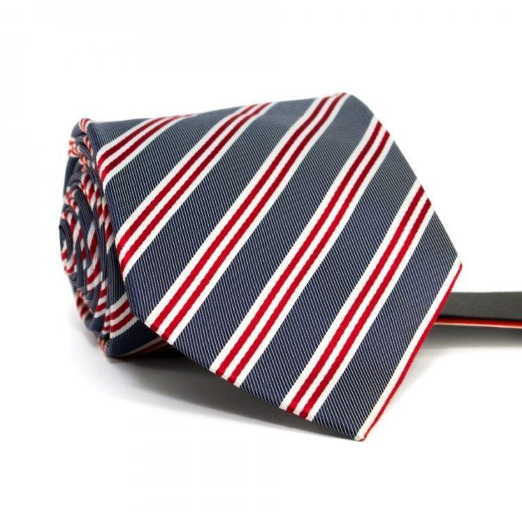 Краватка Чоловічий Сірий В Біло-Червоні Смужки Gin-2571