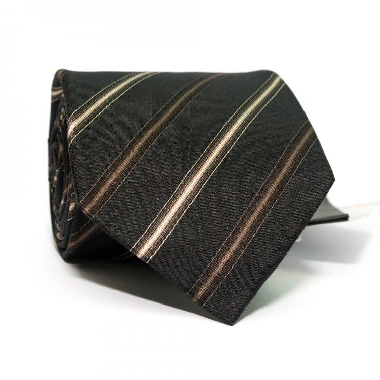 Краватка Чоловічий Чорний В Коричневі Смужки Gin-2388