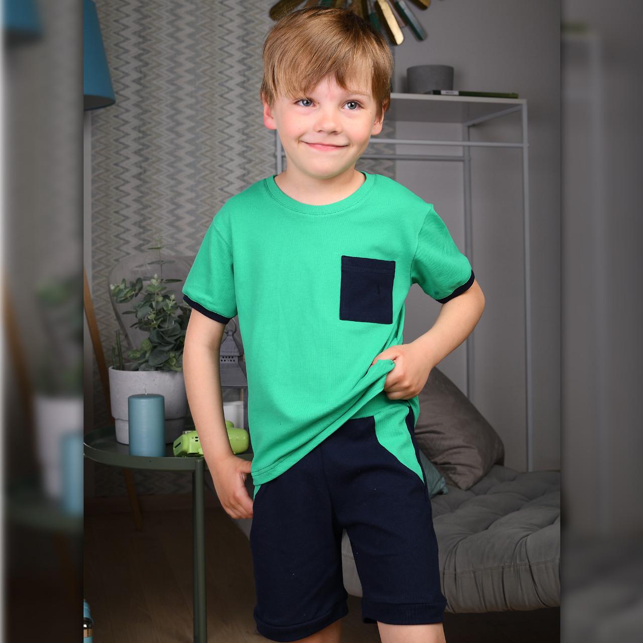 Детский летний костюм для мальчика Зеленый   Дитячий літній костюм для хлопчика