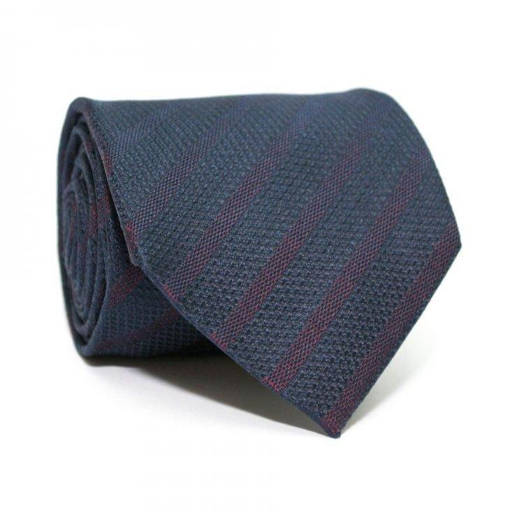 Краватка Темно-Синій З Бордовими Смужками Gin-2284