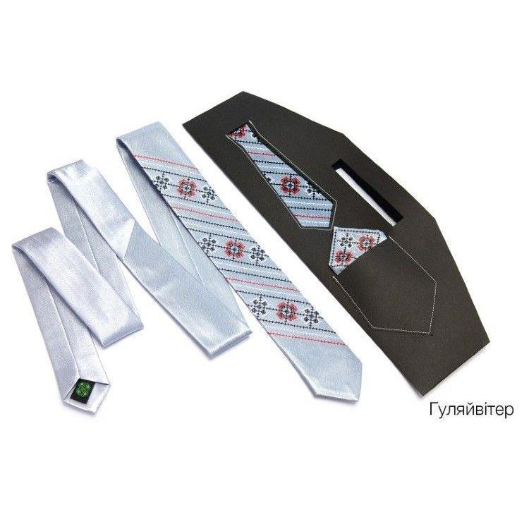 Краватка Вузький З Вишивкою Білий Jj-0003