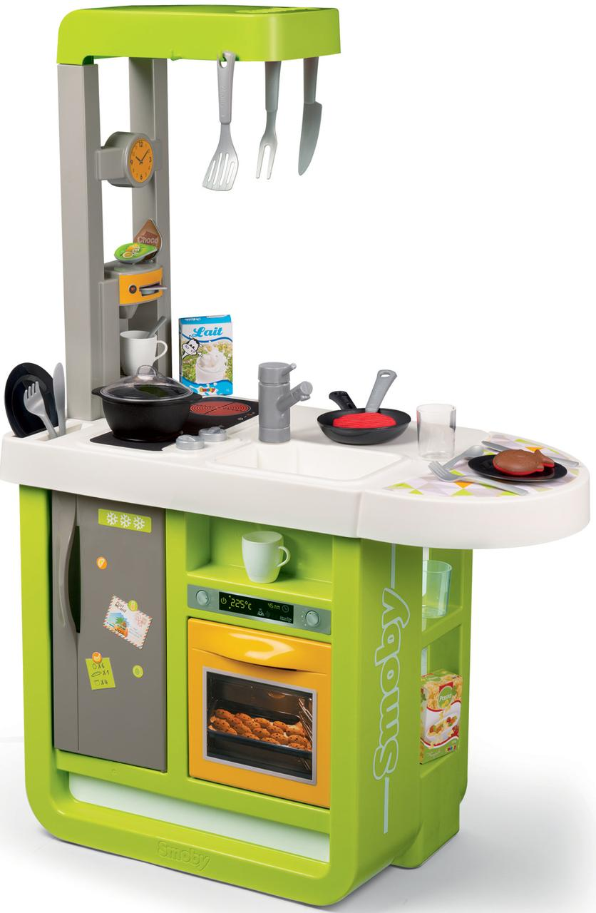 Интерактивная детская кухня со звуковыми эффектами Cherry Smoby Tefal зеленая 310909