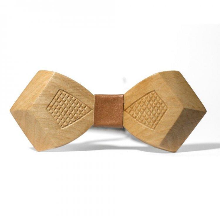 Дерев'яна Краватка Метелик Об'ємна З Гравіюванням Ромбики Gbdh-8038