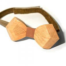 Дерев'яна Краватка Метелик Об'ємна З Гравіюванням Ромбики Gbdh-8038, фото 2