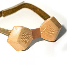 Дерев'яна Краватка Метелик Об'ємна З Гравіюванням Ромбики Gbdh-8038, фото 3