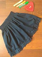 Юбка школьная французский гипюр тёмно - синяя р. от 122 до 140, фото 1