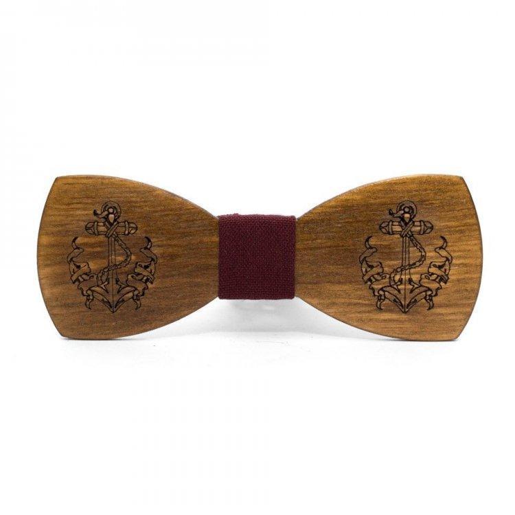 Дерев'яна Краватка Метелик З Гравіюванням Якоря Gbdh-8211