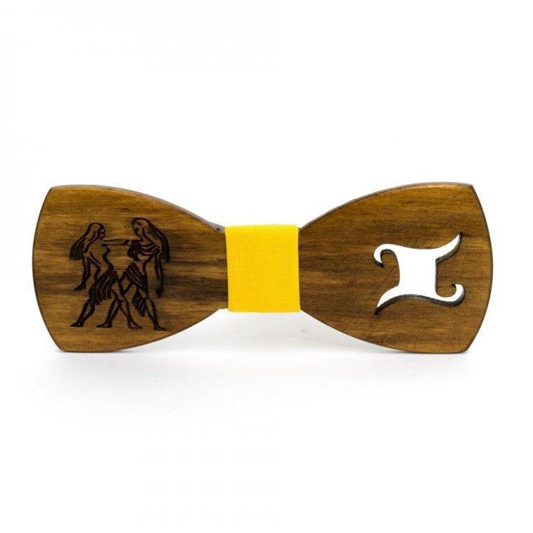 Деревянная Галстук Бабочка Со Знаком Зодиака Близнецы Gbdh-8311