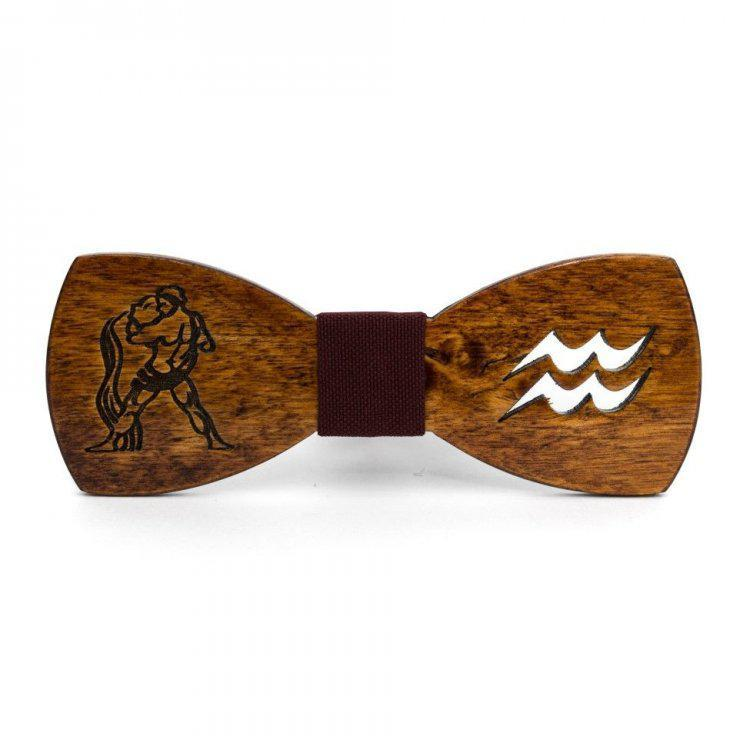 Дерев'яна Краватка Метелик Зі Знаком Зодіаку Водолій Gbdh-8314