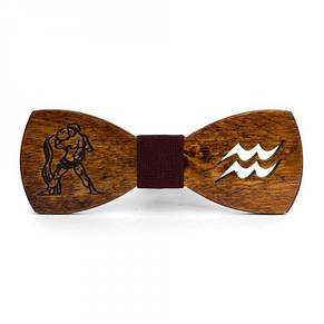Дерев'яна Краватка Метелик Зі Знаком Зодіаку Водолій Gbdh-8314, фото 2