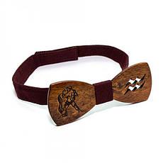 Дерев'яна Краватка Метелик Зі Знаком Зодіаку Водолій Gbdh-8314, фото 3
