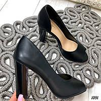 Женские туфли на каблуке  черные, фото 1