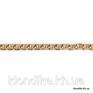 Цепь металлическая, 8х5 мм, Цвет: Золото (1 метр)