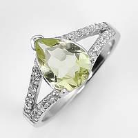 Серебряное кольцо 925 пробы с натуральным лимонным кварцем. Размер 17,3
