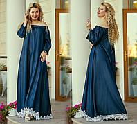 Длинное джинсовое платье Батал до 54 р 19594, фото 1