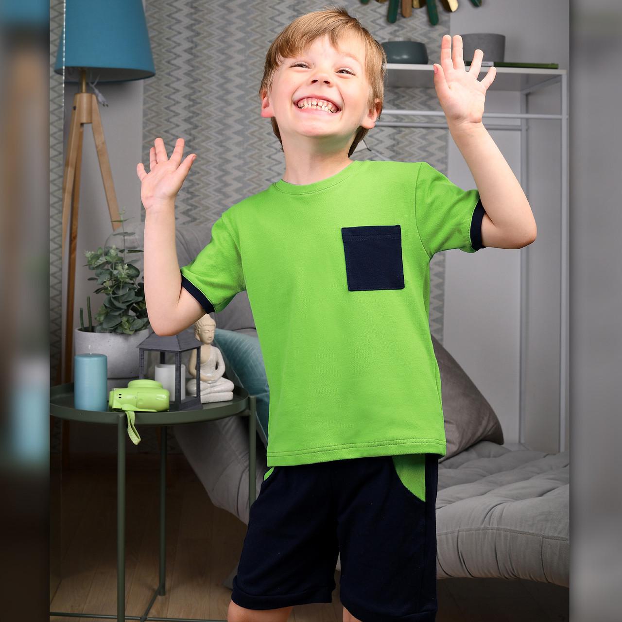 Детский летний костюм для мальчика Салатовый | Дитячий літній костюм для хлопчика