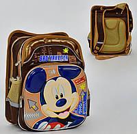Школьный рюкзак Микки Маус ЗD коричневый с ортопедической спинкой на 2 отделения и 4 кармана