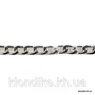 Цепь алюминиевая, 12х8 мм, Цвет: Серебро (1 метр)