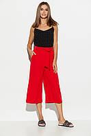 Красные укороченные брюки-кюлоты летние, фото 1
