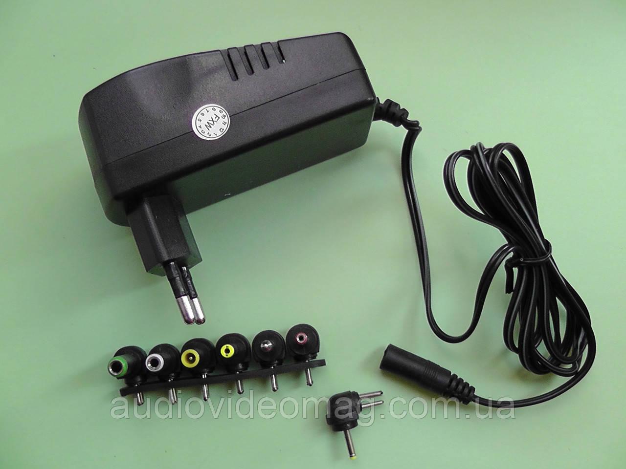 Универсальный блок питания от 3V до 12V, сила тока 2.5A, с 6-ю штекерами-насадками, фото 1