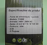 Універсальний блок живлення 3V до 12V, сила струму 2.5 A, з 6-ю штекерами-насадками, фото 5