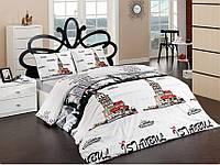 Постельное белье ARYA Ранфорс 200x230 Архитектурные сооружения, Двуспальный Евро, Светло-серый