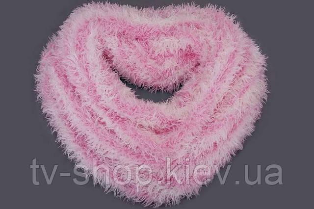 Шарф-трансформер ПОЛОСКА розово-белая