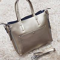Женская бронзовая сумочка из натуральной кожи, фото 1