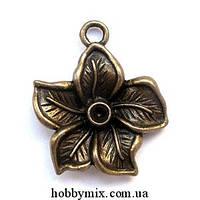 """Метал. подвеска """"цветок"""" бронза (2,2х2,5 см) 4 шт в уп."""