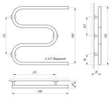 Полотенцесушитель водяной LARIS Змеевик 25 РС3 500 х 500 1/2'' , фото 3