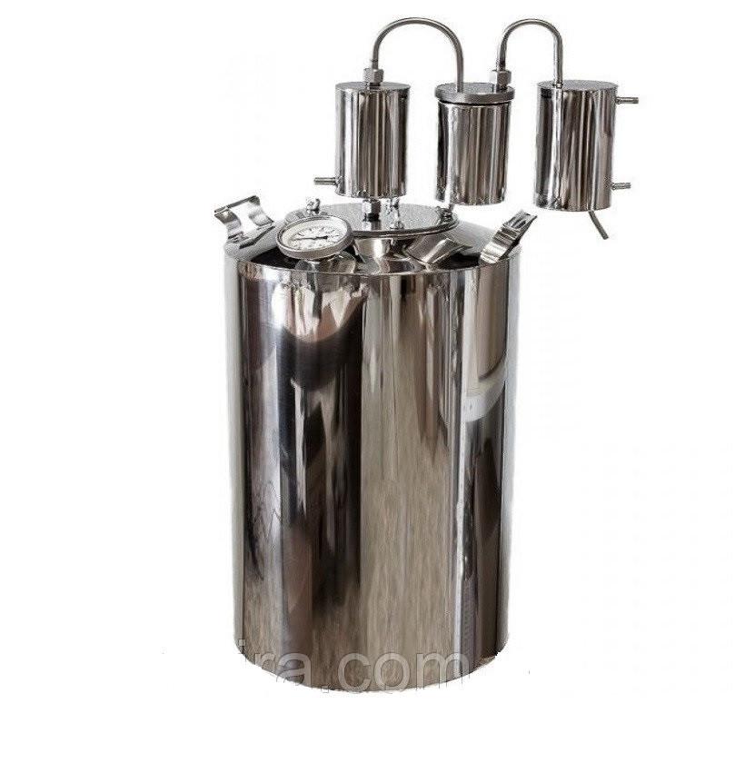 Дистиллятор бытовой из нержавейки с 2-мя сухопарниками и охладителем на 14 литров