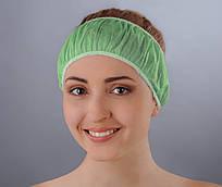 Повязка для волос одноразовая (спанбонд) Doily 10 шт/уп 100 ШТ 10 УП Зеленый шартрез