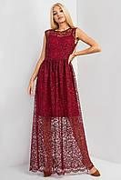 Прозрачное вечернее платье VLASTA в пол цвета марсала с вышивкой и пайетками