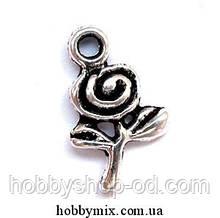 """Метав. підвіска """"трояндочка"""" срібло (1х1,5 см) 25 шт в уп."""