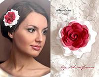 """""""Бело-красная роза"""" заколка для волос"""