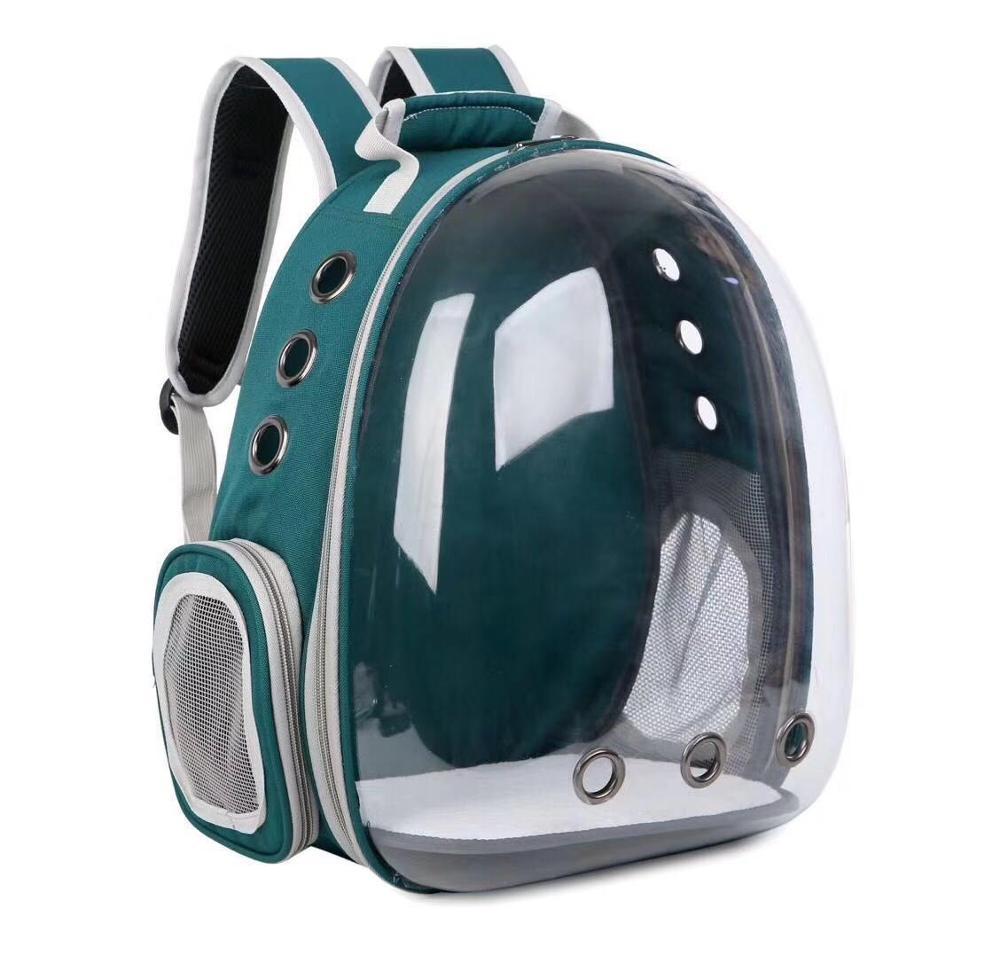 Рюкзак-переноска SUNROZ для кошек и небольших собак с прозрачной стенкой 42x31x28 см Зеленый (SUN4831)