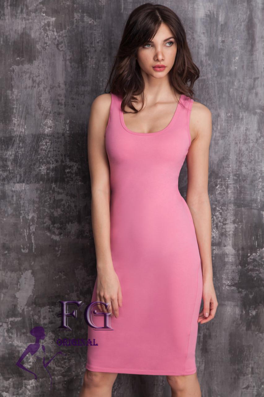 Женское облегающее платье с глубоким круглым вырезом розовое