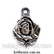 """Метав. підвіска """"троянда"""" срібло (1,5х2 см) 8 шт в уп."""